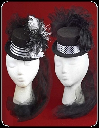 Ladies' Petite Victorian Top Hat - Black and White