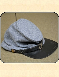 US Civil War Reenactors - Confederate - Gray Wool Kepi - Forage Cap, Size Large