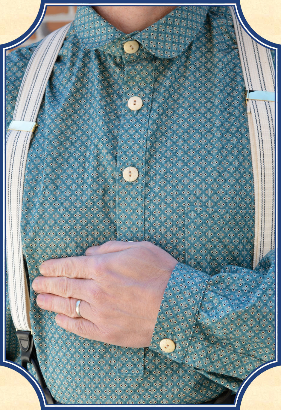 Heirloom Frontier Old West Shirt Green Calico