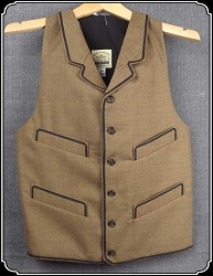 Last of Fabrics ~ Notched Lapeled Vest - Lt Brown Dress Wool - Size 38 Only - Heirloom Brand