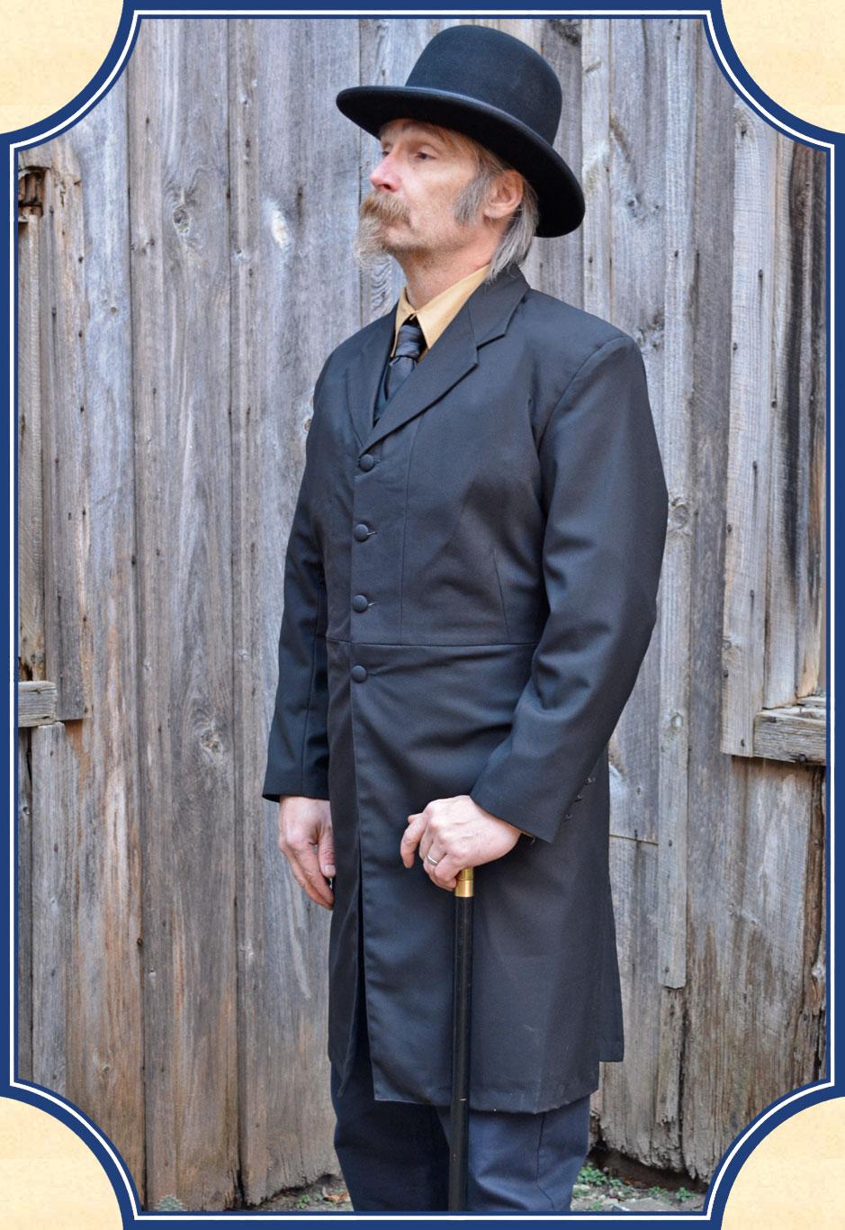 prince albert frock coat  black wool blend