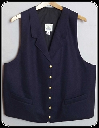 Vest - Notch Lapel Vest by Heirloom in Navy Worsted Wool Size 48