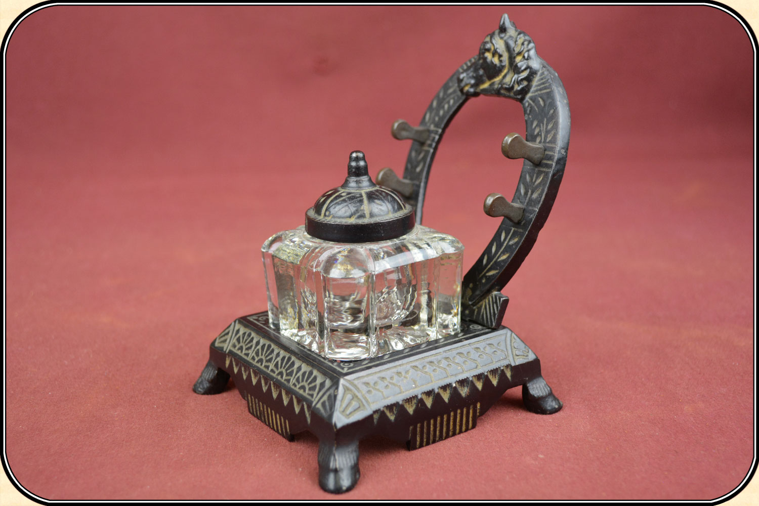Pressed Glass Inkwell with Cast Iron Horseshoe Stand