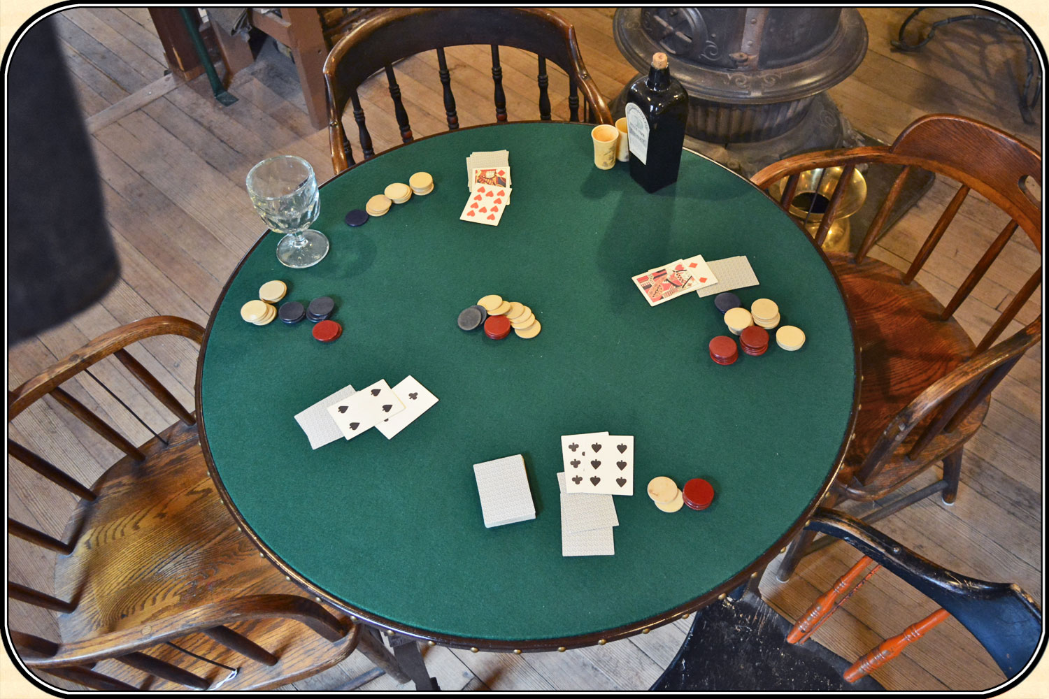 Frontier Gamblers Poker Table Old West Saloon