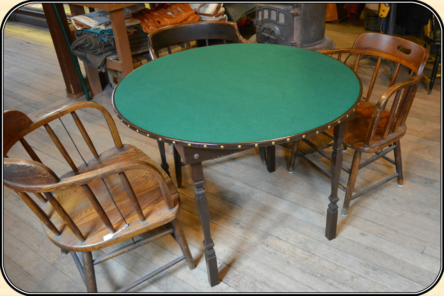Poker table chairs - Old West Gambler S Poker Table Made Exclusivly For River Junction Trade Co Click To Enlarge Image