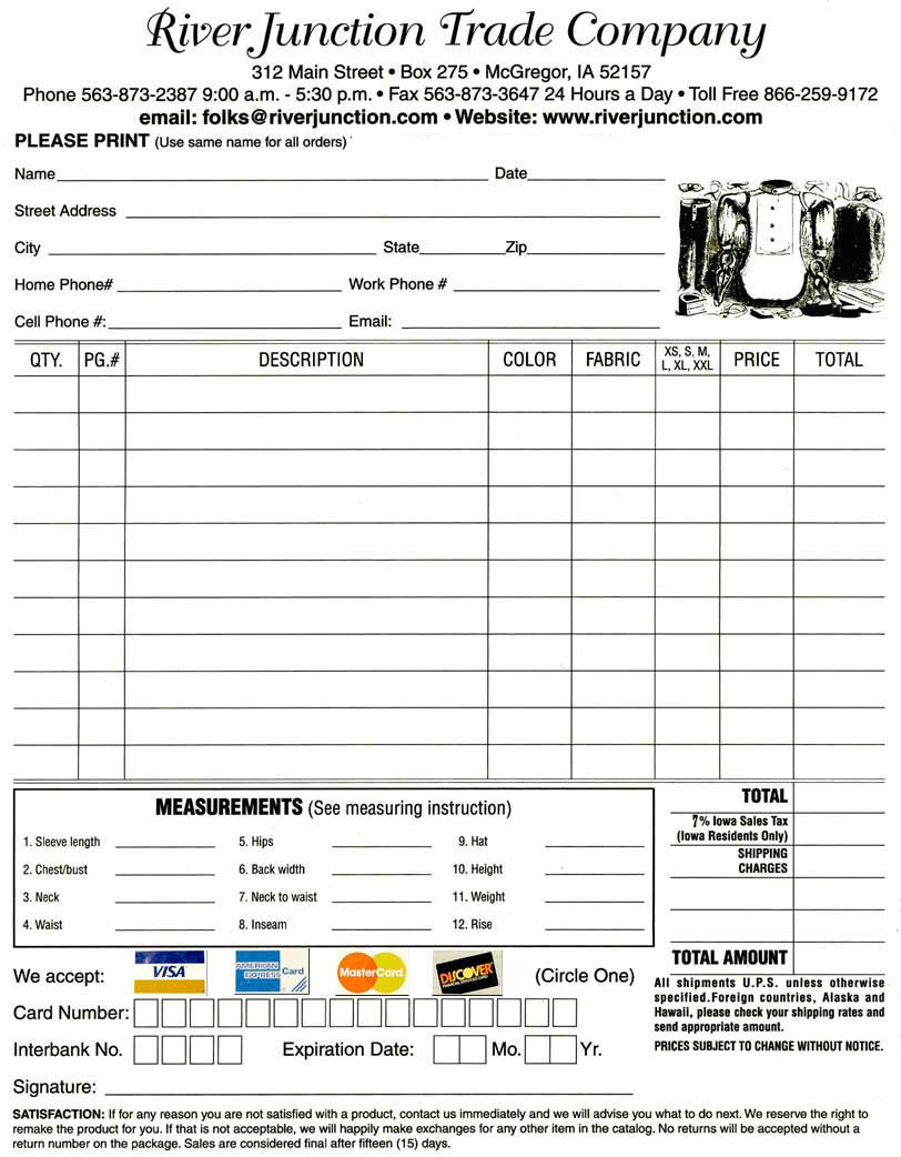 store policy to print an order form click here