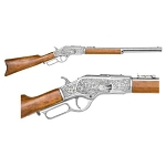 Non-firing replica rifle -1873 lever action engraved silver finish