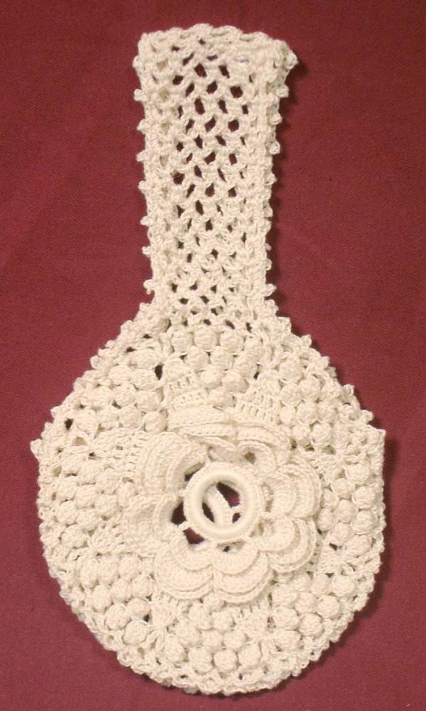 Yarn Holder Knitting Pattern : Hand-crocheted Yarn Holder - Rosette and Popcorn Pattern