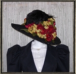 Ladies' Hat - Vintage Style Black and Burgundty Kentucky Derby Hat