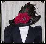 Ladies' Hat - Vintage Style Black and Wine Kentucky Derby Hat