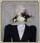 Ladies' Hat - Vintage Style Eggshell and Purple Kentucky Derby Hat