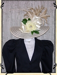 Ladies' Hat - Vintage Style Eggshell Kentucky Derby Hat