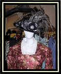 Ladies Hat - Black Satin Victorian