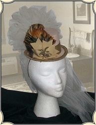 Ladies Hat - Ladies' Petite Victorian Top Hat - Tan with Exotic Brown-Orange Feather Accents