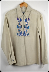 Wah Maker True West Embroidered Shirt - Tan - Size Small