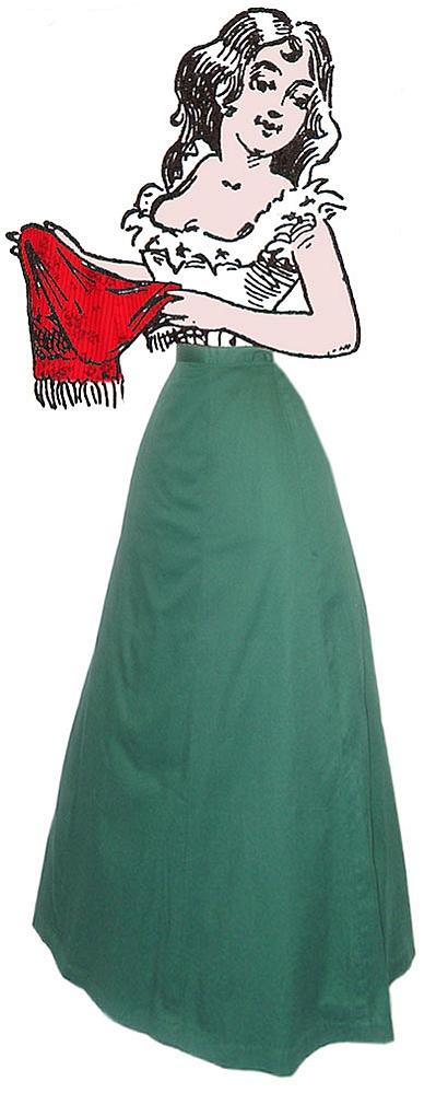 1890s Victorian Walking Skirt Cotton Twill Single Pleat