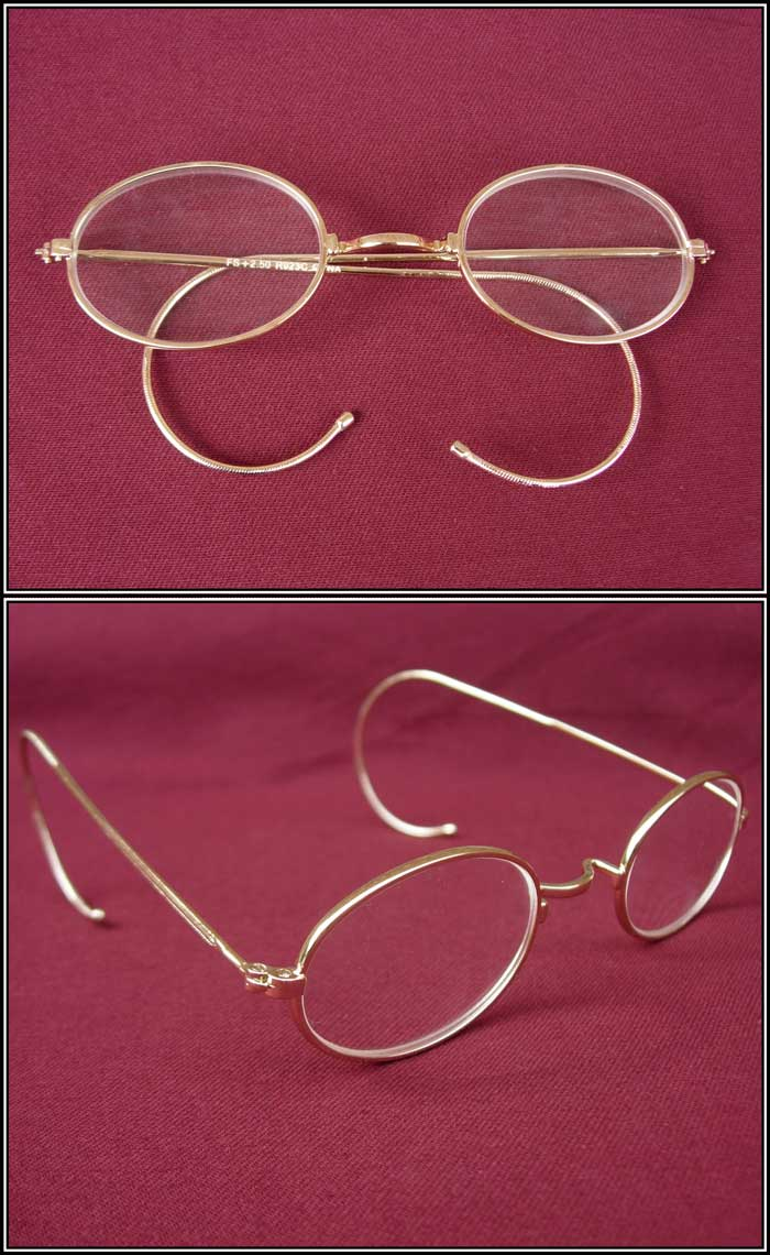 Late-1800s Eye Spectacles - Oval-shaped Clear Glass - Gold ...