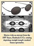 Late-1800s Eye Spectacles - Smoked Oval-shaped Glass