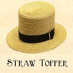 Men's Hat - Straw Topper Hat - 2 1/2