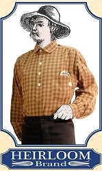 Shirt - SAVE $5 on Last of Fabrics ~ Frontier Old West Shirt - Cotton - Heirloom Brand