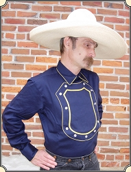 Old Western cowboy Bib Shield Front Navy Cotton Cavalry shirt