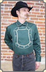 Old Western cowboy Bib Shield Front Green Cotton Cavalry shirt - Old West Cowboy Reenactment