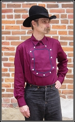 Old Western cowboy Bib Shield Front Wine Cotton Cavalry shirt