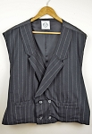 Colonel Carter  - Black pinstripe  Double Breasted Vest - 3XL