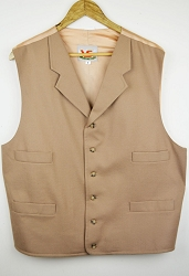 Lazy LS Brand - Tan Wool Notched Lapeled Vest Size 50