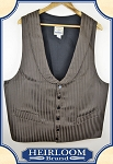 Last of Fabrics ~ Round Lapeled Old West Vest - Fancy Brown Cotton Stripe Cotton - Heirloom Brand - size: 48