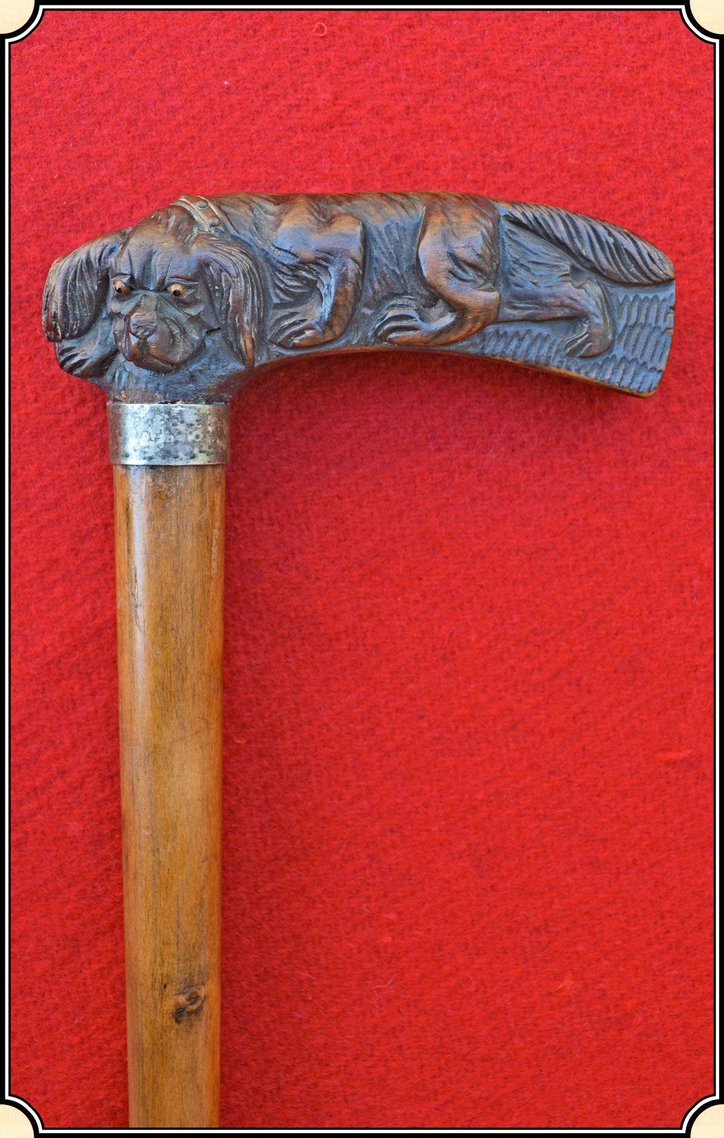 Z Sold Expertly Carved Water Spaniel Walking Stick