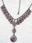 Jewelry - Rhinestone Medallion Pendant Necklace - One-of-a-Kind