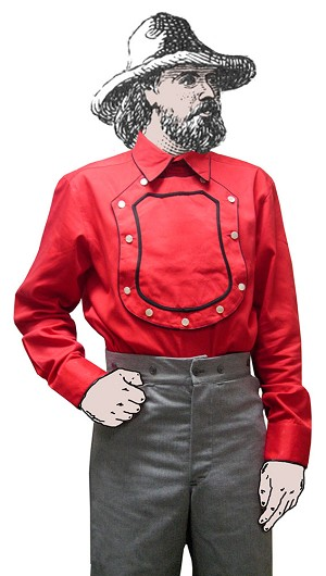 Old Western cowboy Bib Shield Front Red Cotton Cavalry shirt