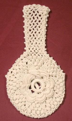 Crochet Yarn Holder : ... at $5 Off ~ Hand-crocheted Yarn Holder - Rosette and Popcorn Pattern