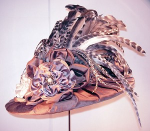z Sold ~ Ladies Victorian Hat ~ Dark Brown with Exotic Feathers - One-of-a-Kind