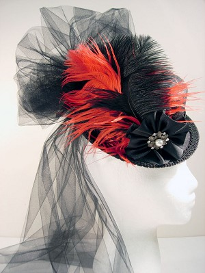 z SOLD - Ladies' Petite Victorian Top Hat - Red-on-Black