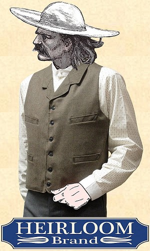 Vest - Notched Lapeled Gentlemen's Vest  -  Worsted Wool  - Heirloom Brand