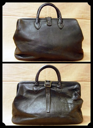 z SOLD Bag - Small carpet bag style leather  bag.