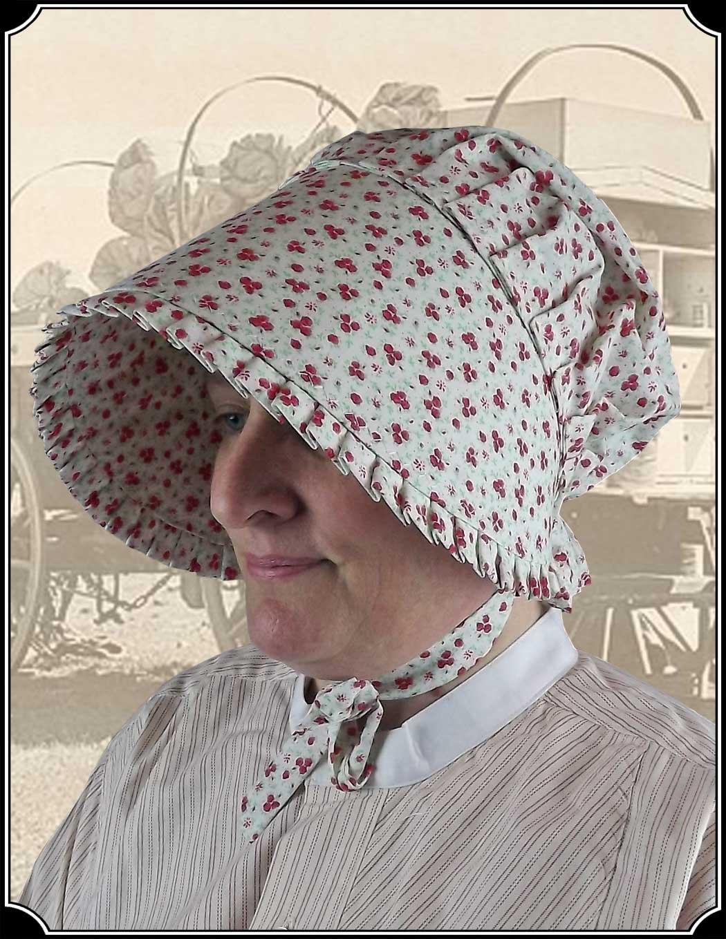 Antique Black Cotton Prairie Sun Bonnet