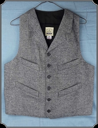 Last of Fabrics ~ Notched Lapeled Vest - Black/Grey Cotton Herringbone - Heirloom Brand