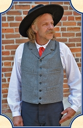 Vest - Notched Lapeled Gentlemen's Vest - Dark Gray - Worsted Wool - Heirloom Brand