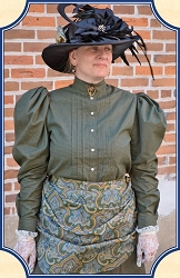 Blouse - Shirtwaist Blouse - Olive Check ~ Heirloom Brand