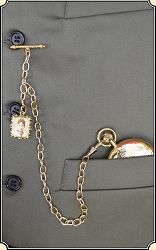 Gold Sweetheart Watch Chain with fob