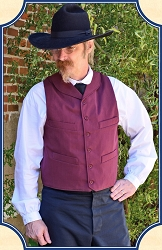 Vest - Burgundy Cotton Round Lapel Vest Heirloom Brand