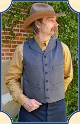 Vest - Round Lapeled Old West Vest - Gray - Cotton - Heirloom Brand