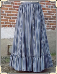 Ladies Cotton Blue Stripe Frontier Skirt Heirloom Brand