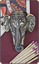 Elephant head Figural match safe or Match Vesta plus box of matches.