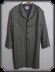 Coat - Frock Wool Blend Driftwood Herringbone with Binding
