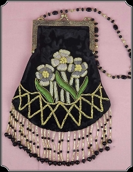 Fancy Floral Beaded Black Reticule