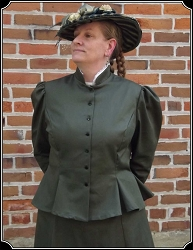 Jackets - Olive Cotton Twill Gored Peplum Heirloom Brand